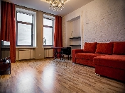 Water view author's design 1-room apartment for rent at 3, Zhdanovskaya Embankment